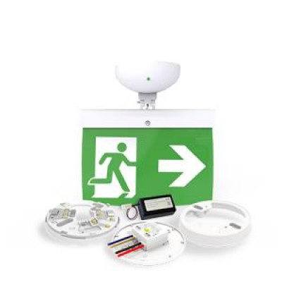 NFW-SDT/EL20R - 20m Maintained Exit Sign Kit - RIGHT arrow (ISO7010)